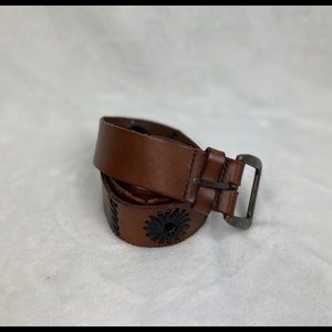 Vintage Embroidered Leather Belt
